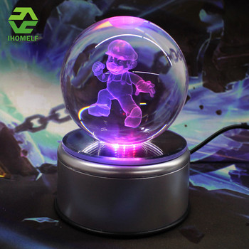 Mario Frieza 3D Crystal Ball Lamp Batman iron Man Glass Ball Engraving Round With LED Colorful Rotation Base Child's Gift