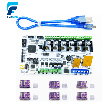 Rumba For 3D Printer Start Kits Mother Board Rumba Board With 6pcs DRV8825 Stepper Driver &6pcs Heatsink with
