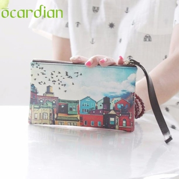 OCARDIAN Women Wallets And Purses sacoche homme Vintage Lllustration Graffiti Wristlet bags Leatehr long Wallet Gift 1pcs