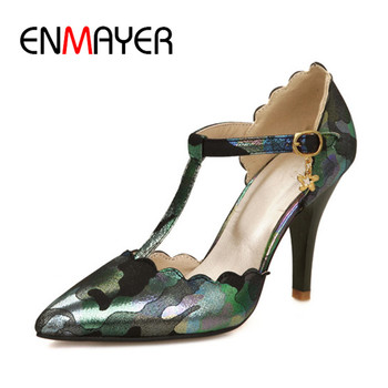 ENMAYER Womens Shoe Ankle Strap Shoe Pointed Toe Shoe7 9cm Metal Decoration Party Heel Slip-on Black Blue Beige Pink Shoe34-37