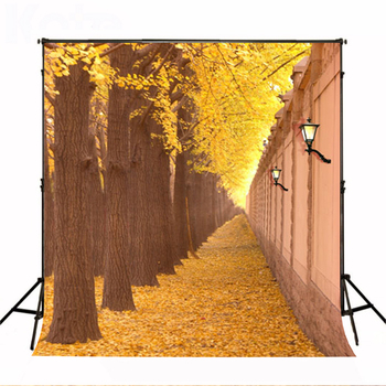 Wedding Photography Background Tree Street Wall Birthday Photo Backdrops Scattered Yellow Leaves Backgrounds for Photo Studio